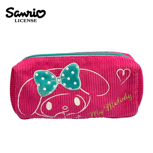 【日本正版】美樂蒂 燈芯絨 筆袋 鉛筆盒 收納包 My Melody 三麗鷗 Sanrio - 418540