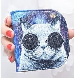 韓版可愛塗鴨超薄兩折零錢包錢包皮夾短夾非長夾中夾手拿包