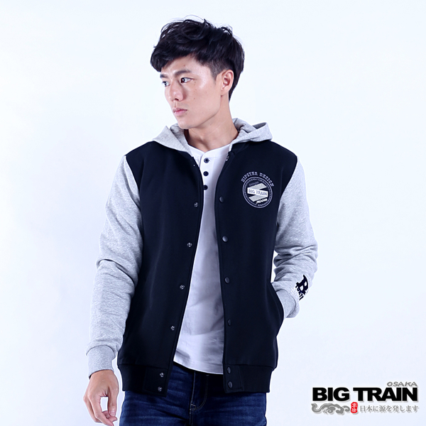 Big Train 男款貼標棒球連帽外套-黑-B30191