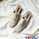 穆勒鞋 夏季粗跟包頭拖鞋女淺口時尚外穿網紅穆勒鞋復古英倫風方頭半拖 寶貝計畫
