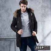 【JEEP】冒險家造型軍裝長版外套 (黑)