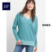 Gap女裝 舒適V領套頭長款長袖運動衫 215161-海神藍色