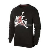 Nike 長袖T恤 Jordan Jumpman Classics Crew 黑 白 男款 大學T 刷毛 喬丹 【PUMP306】 BV6007-010