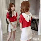 設計感小眾襯衫女2020夏季新款娃娃領雪紡襯衫短袖氣質紅色上衣服 LR25481『紅袖伊人』