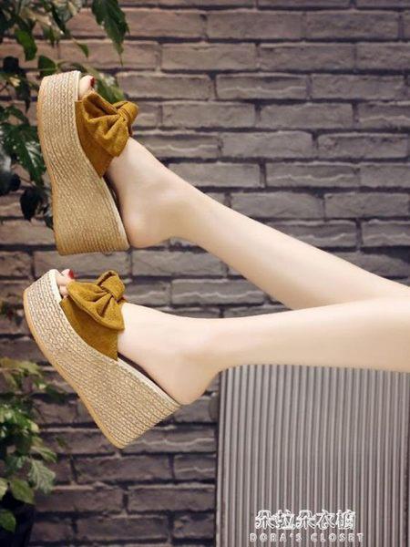 一字拖女夏時尚性感蝴蝶結韓版鬆糕坡跟外穿防滑厚底超高跟涼拖鞋  朵拉朵衣櫥