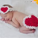 童裝 愛心造型嬰兒攝影寫真毛線針織 二件組