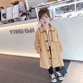 翻領不對稱設計黑色滾邊中長版風衣外套 大衣 風衣 外套 女童 童裝 中童 橘魔法 現貨 兒童 童裝