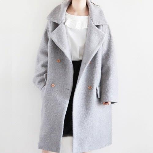 長大衣 經典純色翻領毛呢大衣 艾爾莎【TGK4593】