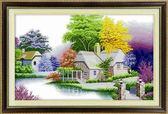 印花十字繡家園系列 悠然小居 現代簡約臥室棉線新款掛畫風景田園WY三角衣櫥