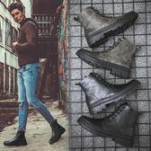 加絨棉鞋馬丁靴男士復古雪地靴高幫潮流男鞋工裝軍工靴   蘑菇街小屋