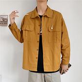 【快出】男士潮牌工裝襯衫韓版潮流長袖襯衣寬鬆休閒寸衫薄款帥氣外套