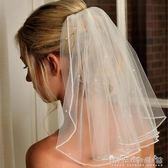 新款歐式簡約短髮新娘短款攝影頭紗結婚頭飾珍珠水鑽小頭紗帶髮梳 晴天時尚館