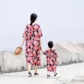 母女裝連身裙寬鬆袍子親子裝印花長裙子旅行 igo igo 范思蓮恩