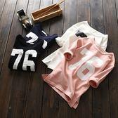 *╮小衣衫S13╭*男女兒童百搭數字76純色長袖T恤1060909