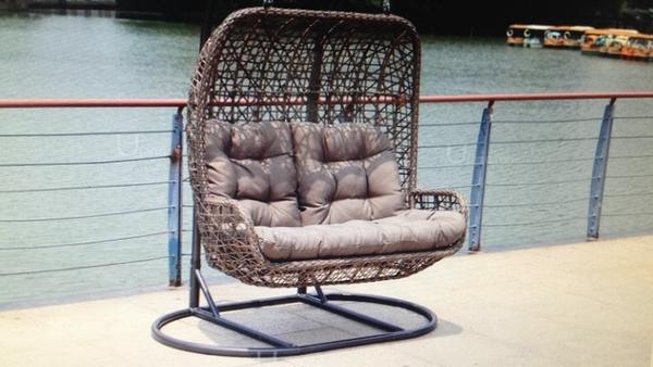 【南洋風休閒傢俱】戶外躺椅系列 -雙人吊籃  編藤搖籃  戶外休閒造型搖椅  曲線搖椅