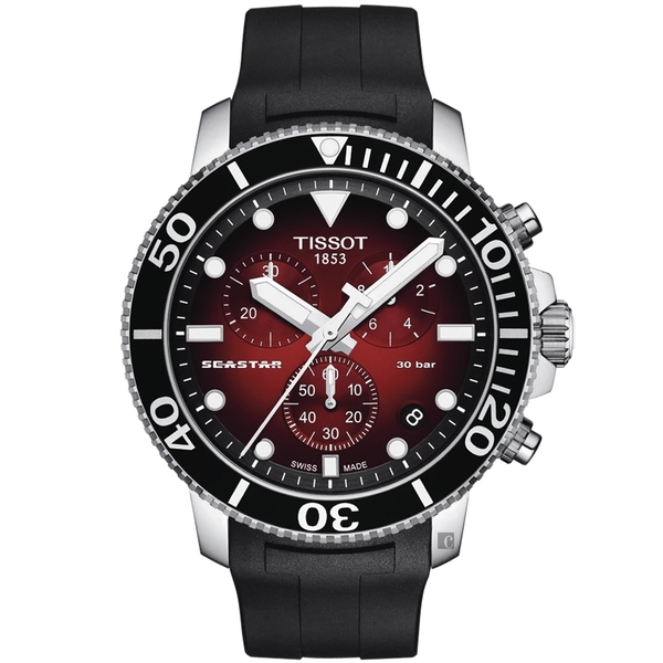 TISSOT 天梭 Seastar 1000 海洋之星300米潛水石英計時手錶-紅/45.5mm T1204171742100