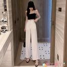 西裝褲 新款韓版女裝時尚高腰拉鏈直筒西裝褲春季薄款寬鬆垂感休閒闊腿褲 愛丫 新品
