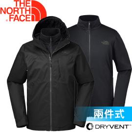 【The North Face 男款  DRYVENT 兩件式保暖外套《黑》】2UC9JK3/保暖外套/外套/防水外套★滿額送