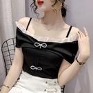 上衣一字肩S-XL淑女韓系夏季設計感一字領時尚露肩雪紡衫上衣.T327.505胖胖唯依