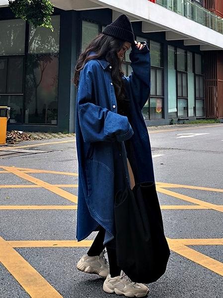 克妹Ke-Mei【AT64832】2021早春韓國名媛深V立領排釦牛仔長風衣外套