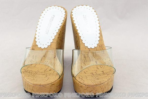 拖鞋☆PINKPOKO粉紅波可☆透明玻璃皮質面金蔥亮面底楔型厚底露趾魚口鞋/厚底拖鞋 #7397