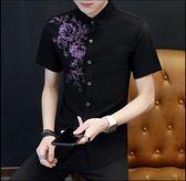 短袖白襯衫男士半袖修身商務休閒職業裝襯衣韓版寸衣潮流男裝  凱斯盾數位3C