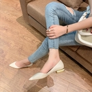 低跟鞋 單鞋女新款淺口尖頭鞋平底鞋溫柔百搭珍珠跟低跟女鞋