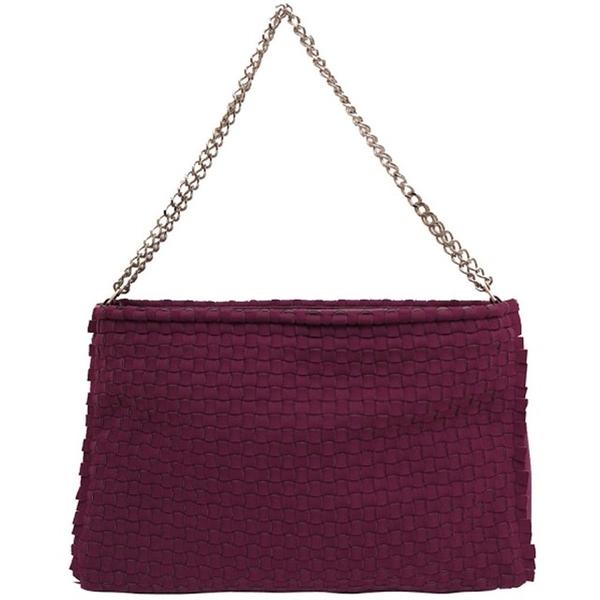 【LEGHILA】編織 KUSO版 休閒款 鏈帶 肩背包(酒紅色) PLUM/PINK