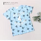 夏日椰子樹滿版英文印花短T 美式 夏威夷  渡假風 竹節棉 哎北比童裝