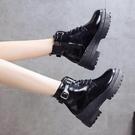 女馬丁靴韓版亮皮馬丁靴厚底防水臺坡跟高筒鞋增高女短靴子秋冬季新款 限時特惠