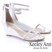 2019春夏_Keeley Ann時尚膠片 一字帶金屬圓楦楔型涼鞋(白色)-Ann系列