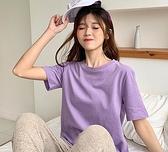 網紅t恤女ins超火純棉短袖2021夏新款白色小雛菊打底香芋紫色上衣