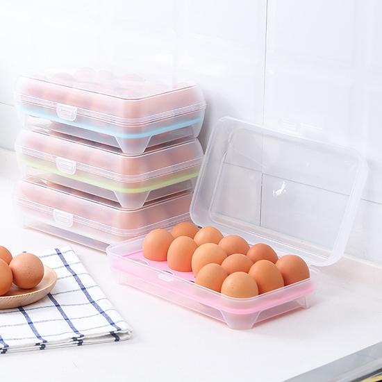 15格雞蛋收納盒 冰箱 保鮮盒 便攜 防碰 廚房 塑料 雞蛋盒 蛋托【Z137】MY COLOR