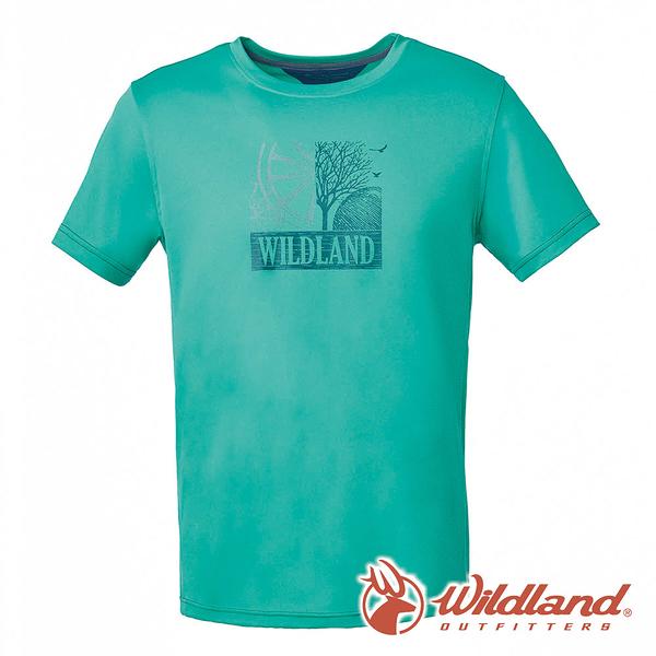 【wildland 荒野】男 咖啡紗抗菌抗UV印花上衣『灰綠』0A61608 T恤 上衣 休閒 戶外 登山 印花