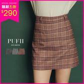 現貨 PUFII-褲裙 復古格紋配色短褲裙 3色-1108 冬【ZP15522】