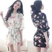 浴袍大碼睡衣透視印花和服睡袍睡裙套裝JK226『樂愛居家館』