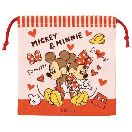 DISNEY 迪士尼米奇米妮手繪圖案棉質附底縮口袋(愛心)★funbox★SKATER_AT41414