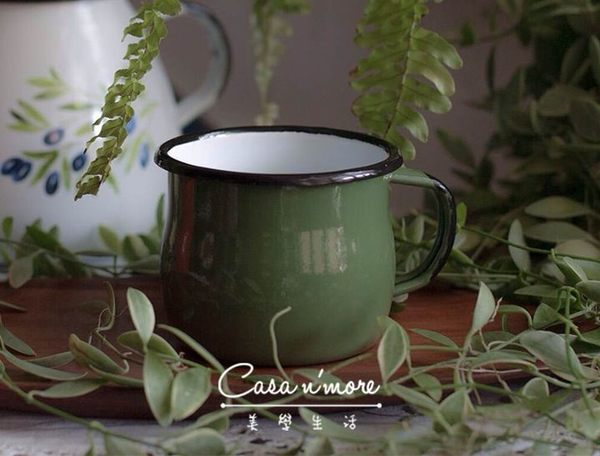 波蘭琺瑯杯 曲線杯 馬克杯 350ml 綠色 Emalia Olkusz TPS