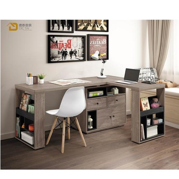 D&T 德泰傢俱 Buck胡桃色5.3尺L型功能桌組 A023-B470-02
