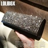 LOLIBOX訂製閃光滿鑽拼接緞面長款高檔晚宴包女手拿包禮服宴會包 簡而美