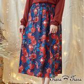 【Tiara Tiara】激安 層疊花果鬆緊腰綁帶半身裙(藍/綠)