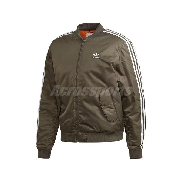 adidas 外套 Padded Bomber Jacket 綠 男款 飛行夾克 運動休閒 【PUMP306】 ED5826