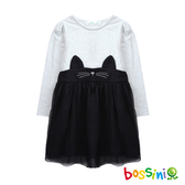 【歲末出清2件999】長袖針織洋裝黑白-bossini女童