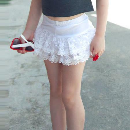 *╮S13小衣衫╭*純棉白色蕾絲蛋糕裙短褲  1050408