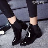 皮靴 歐美短靴尖頭低跟漆皮馬丁靴短筒裸靴女鞋英倫粗跟單靴及棉鞋 育心小賣鋪
