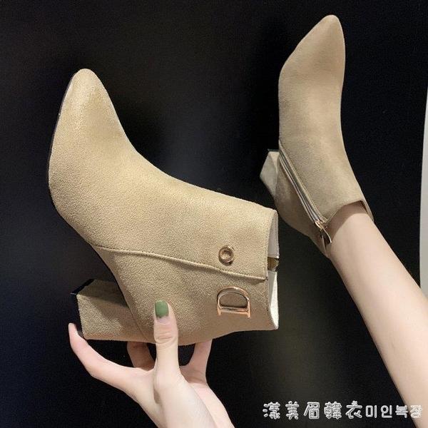 粗跟尖頭短靴女中跟馬丁靴2019秋冬新款絨面靴子百搭及踝靴 漾美眉韓衣