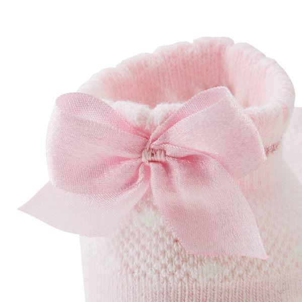 MIKI HOUSE  日本製水玉點點蝴蝶結短襪(粉紅)