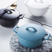 創意陶瓷碗湯碗 日式沙拉碗甜品碗早餐家用餐具學生雙耳帶蓋面碗  居家物語