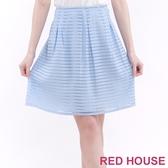 【RED HOUSE 蕾赫斯】透明感條紋及膝裙(水藍色)