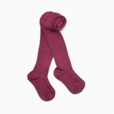 兒童 幼童 褲襪 【英國 Verity Jones】- 羅紋保暖褲襪 -覆盆子玫瑰#VJ15002